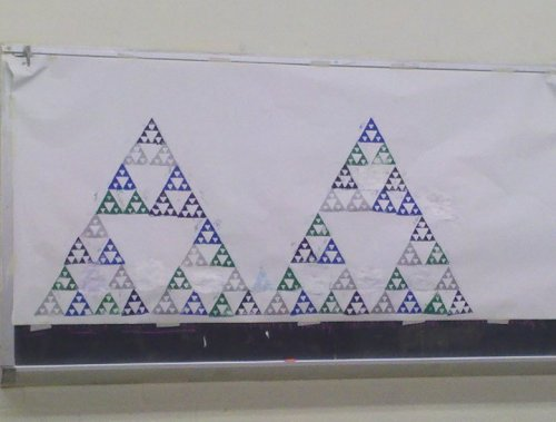 A partially-completed Sierpinski Triangle, by geometry & art students