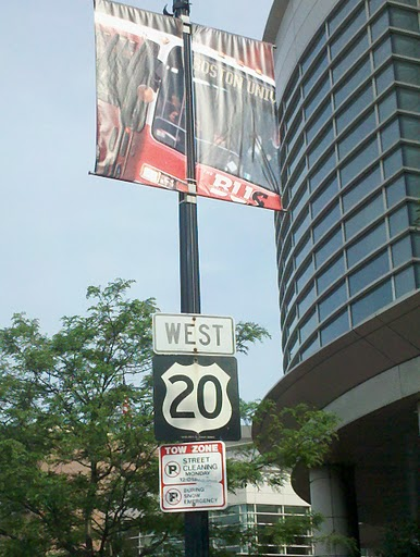 First Rte 20 sign, heading west from Boston
