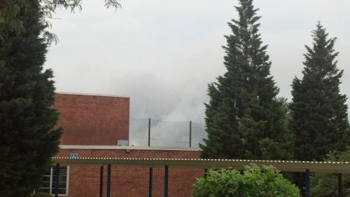 Smoke, seen over my school