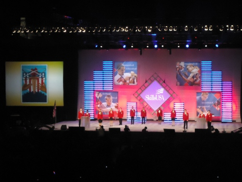 Skills Officers on stage