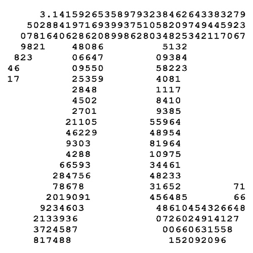 332 digits of pi, in an interesting shape (image from Samuel Arbesman)